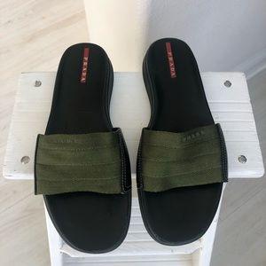 Prada slides slip on sandals green 36.5